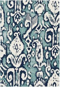 Rugs Original Abstract Foral Design Batik - Blue & White