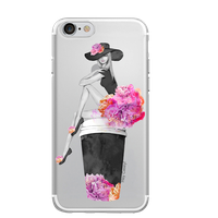 Hey Casey! Girl Sitting on Coffee Cup Case for iPhone 8