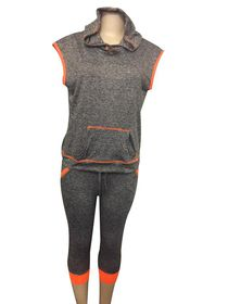 2 Pack Gym High Waisted Capri Tights & Hooded Sweat Shirt - Orange & Grey