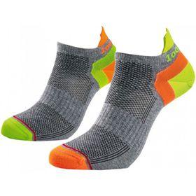 1000 Mile Ladies Double Layer Liner Socks - Grey & Lumo (Size: 3-5.5)