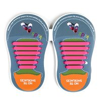 Binah G No Tie Silicone Elastic Shoe Lace for Kids - Pink