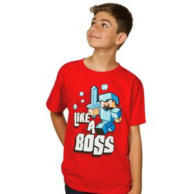 Minecraft: Like A Boss - Youth T-Shirt (Red)