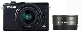 Canon EOS M100 24.2MP Mirrorless Camera Twin Lens Portrait Bundle - Black