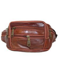 3bd59f59fd95 Fino Genuine Leather Moon Bag with 5 Pockets - Brown