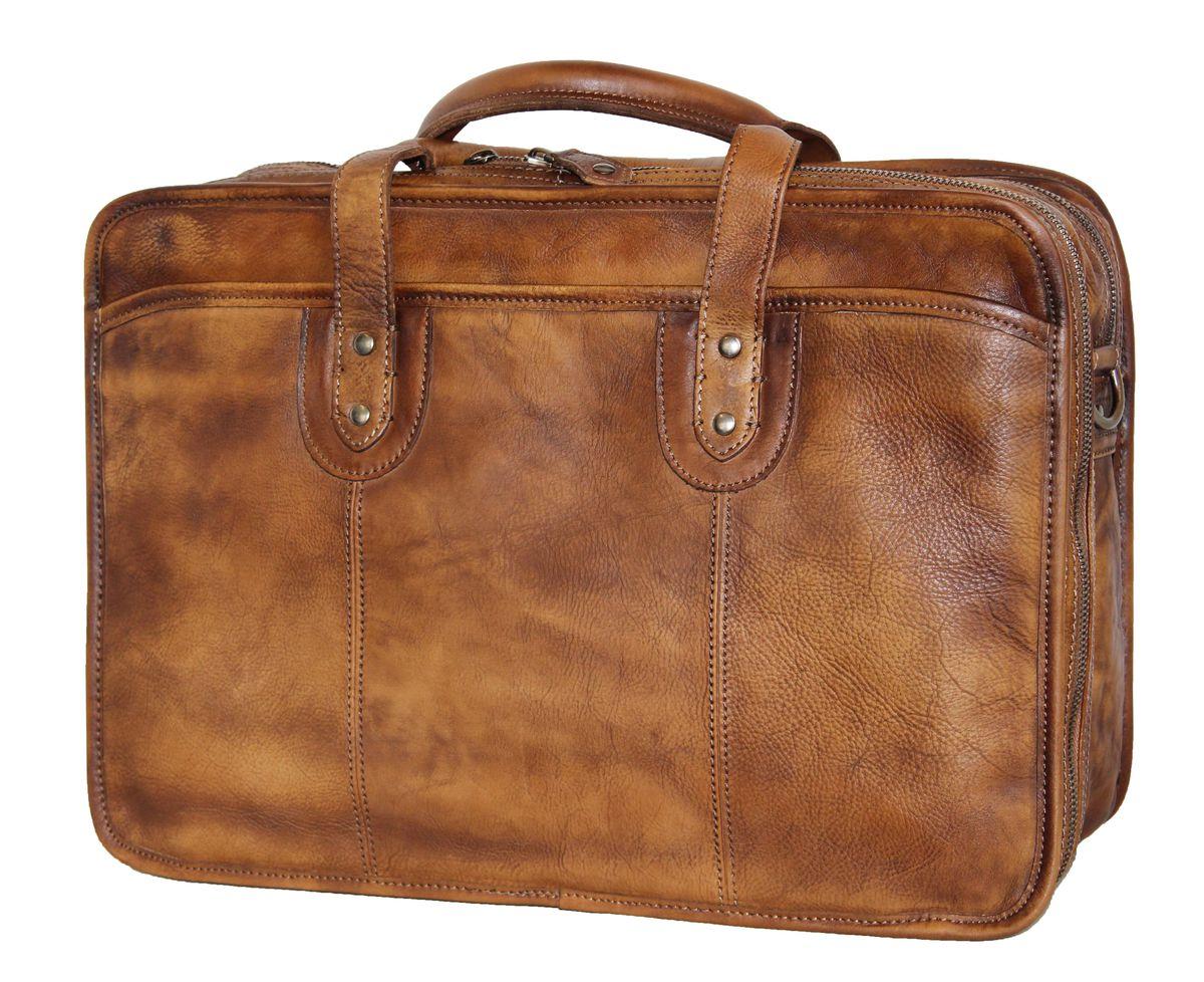 Fino Genuine Leather 15 Laptop Bag Brown