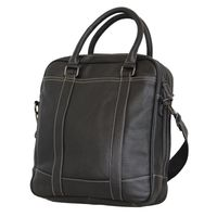 Fino Genuine Leather Messenger Bag - Black