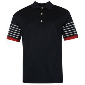 Footjoy Men's Stripe Sleeve Polo Shirt - Navy & White (Size: S)