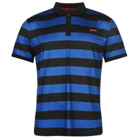 Slazenger Men's Bold Stripe Polo Shirt - Black & Royal