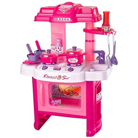 Baneen Kids Pretend Kitchen Playset with Light and Sound - Pink
