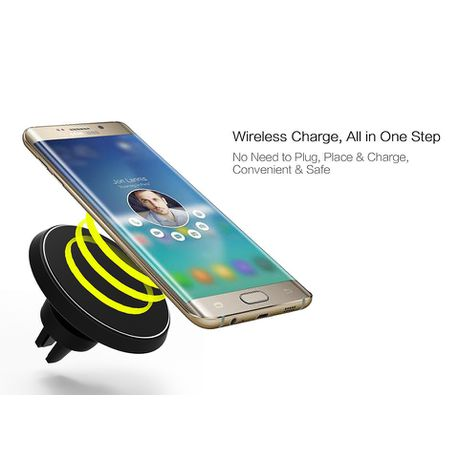 Tuff-Luv 360 Degree Rotational Wireless Magnetic Mount Car Charger for  iPhone 8, X, Samsung Galaxy & Note 8