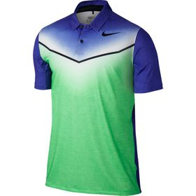 Nike Men's Dri-Fit Mobility Fade Golf Polo Shirt - Electro Green & Paramount Blue
