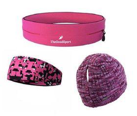 TheGoodSport Ladies Running Set - Pink, Black & Purple (Size: M)