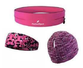 TheGoodSport Ladies Running Set - Pink, Black & Purple (Size: L)