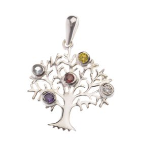 Sterling silver tree of life pendant with stones buy online in sterling silver tree of life pendant with stones mozeypictures Gallery