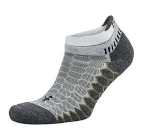 Balega Silver Antimicrobial No-Show Compression-Fit Running Socks - White & Grey (Size: L)