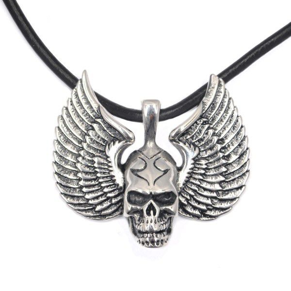Xcalibur skull wings pendant on thong necklace buy online in xcalibur skull wings pendant on thong necklace aloadofball Choice Image