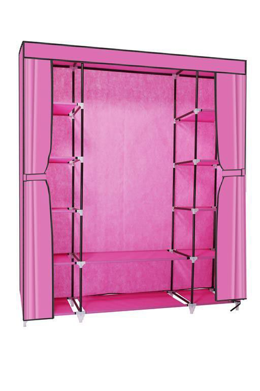 Hazlo Large Fabric Wardrobe Closet   Pink ...
