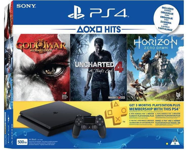 PS4 500GB Black Console + 90 Days PSN + God Of War 3 + Horizon Zero ...