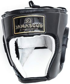 Damascus Boxing Leather Head Guard - Black (Small)