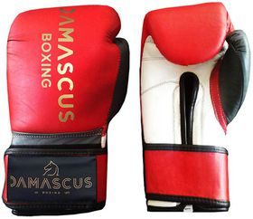Damascus Boxing Sparring Velcro Gloves 14oz - Red, White & Grey