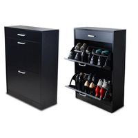 Softy Home Shoe Cabinet with 2 Doors & 1 Drawer - Black