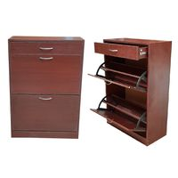 Softy Home Shoe Cabinet with 2 Doors & 1 Drawer - Mahogany