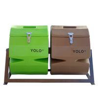 YOLO Double Compost Tumbler - Brown & Green (Size: M)