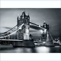 1Wall London Tower Bridge Wall Mural - Black & White (4 Piece)