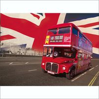 1Wall London Bus with British Flag Wall Mural - Red (4 Piece)