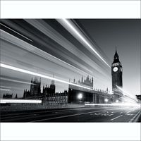 1Wall Big Ben Wall Mural - Black & White (4 Piece)