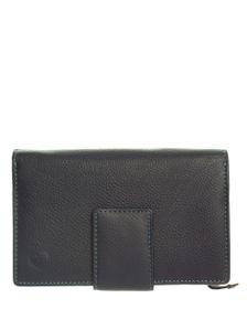 Carraro Ladies Leather 10 Credit Card Purse - Blue