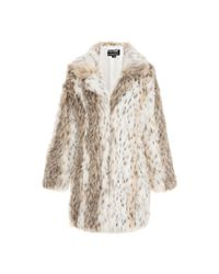 52806267330 Quiz Leopard Print Faux Fur Jacket - Beige   Grey