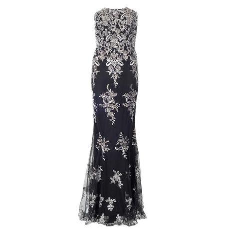 9b66b0b2ef5 Quiz Embellished Strapless Fishtail Maxi Dress - Black   Silver ...