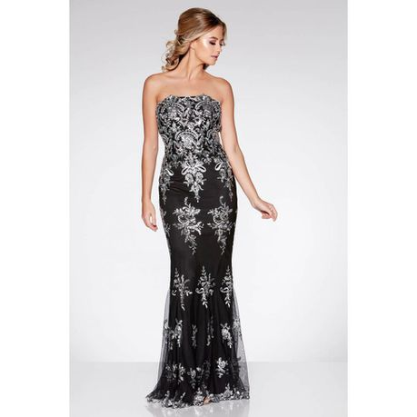 Fishtail Maxi Dress - Black \u0026 Silver