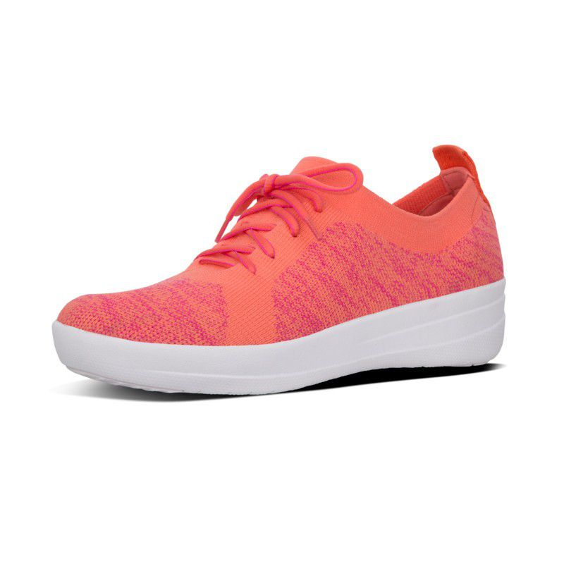 FitFlop F-Sporty Uberknit Sneakers Colour: Coral/Fuchsia, Size: UK4.