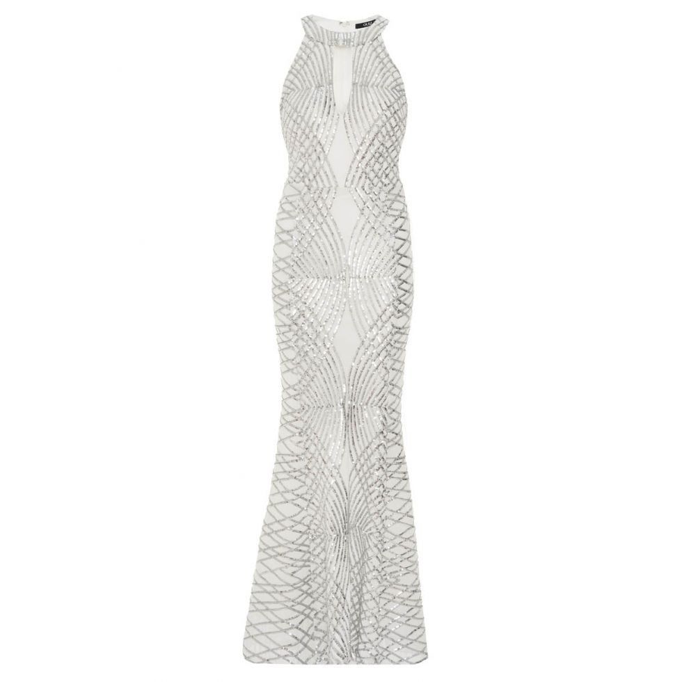 Quiz Sequin & Mesh Fishtail Maxi Dress - Silver | Buy Online in ...