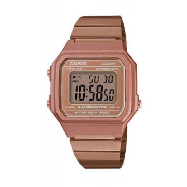 Casio B650WC-5ADF Retro Digital Square Watch - Rose Gold