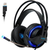 Sades R2 USB 7.1 Gaming Headphones with Mic - Black & Blue