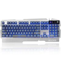 Sades K9 Splash Proof Gaming Keyboard with LED Lights - Silver