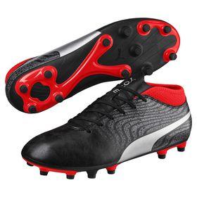 Men's Puma One 18.4 FG Soccer Boots - Black/Silver