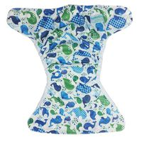 Bamboo Baby Snap Waist Nappy Cover - Whale
