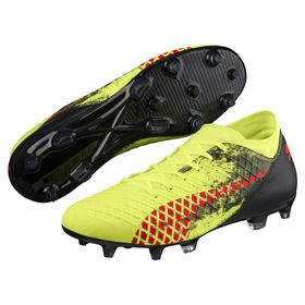 Men's Puma Future 18.4 FG AG Soccer Boots - Yellow/Red