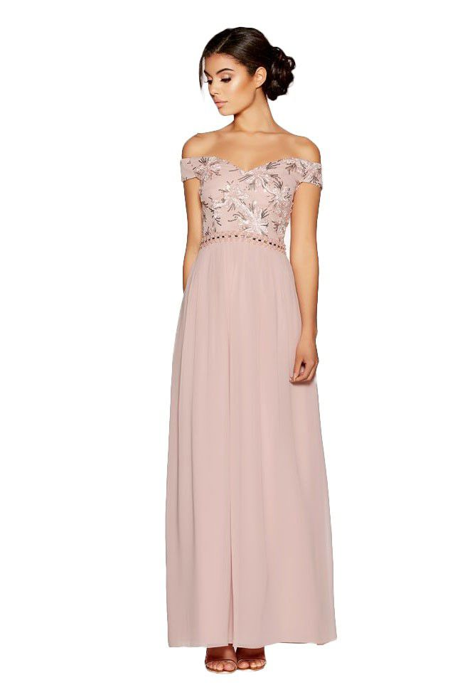 Quiz Bardot Embroidered Maxi Dress - Dusky Pink | Buy Online in ...