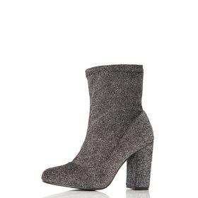 Quiz Textured Block Heel Ankle Boots