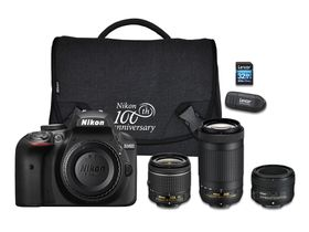 Nikon D3400 24.2MP DSLR Triple Lens Value Bundle