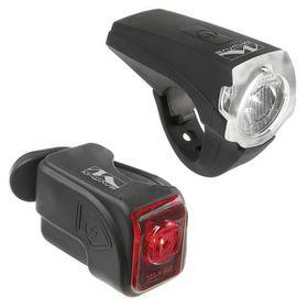 M-Wave Atlas USB Bicycle Accumulator Lamp Set - Black