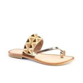 Queue Leather Toe Post Sandals - Gold & Nude