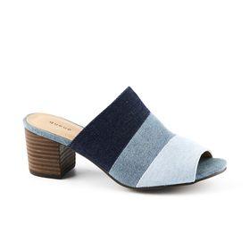 Queue Slide Block Heels - Denim