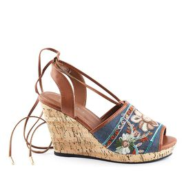 Wild Alice Lace-Up Wedge - Brown