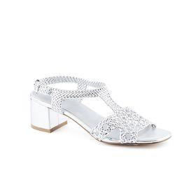 Queue Block Heels - Silver